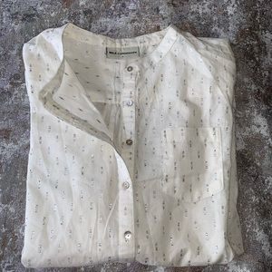Tops - Women's long sleeve blouse | white & silver